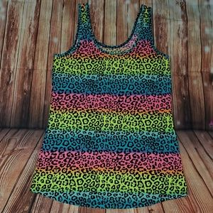 No Boundaries  Rainbow Cheetah Print Tank
